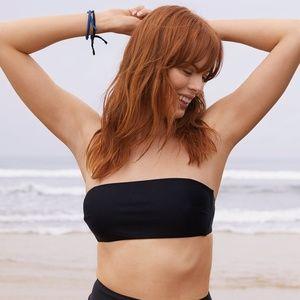 AERIE - Bandeau Bikini Top/True Black/L